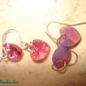 2 pár Swarovski szív fülbevaló - fuchsia opál és rose AB (madaikati) - Meska.hu