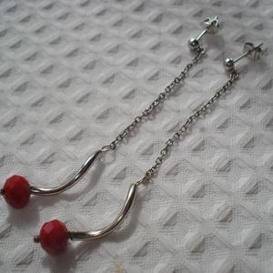 Karmazsin piros hosszú fülbevaló fülbevaló (madaikati) - Meska.hu