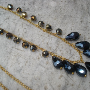 Elegáns fekete gyöngyös nyaklánc (madaikati) - Meska.hu