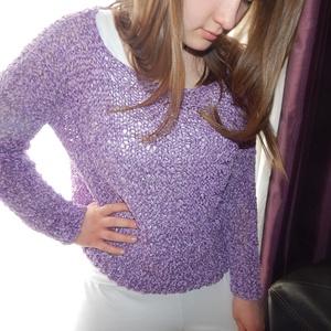 ÚJ! Lila zsenília tavaszi pulóver 40-44-es méretig (madaikati) - Meska.hu