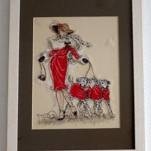 Keresztszemes - Hölgy kutyákkal (dalmatians), Otthon & lakás, Lakberendezés, Falikép, Hímzés, Elegáns stílusú keresztszemes, amit a Maia collection design készletéből varrtam az eredeti Anchor f..., Meska