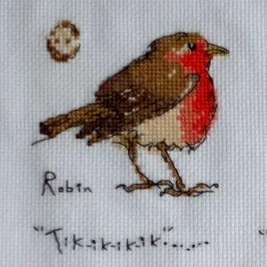 Kerti énekes madárkák katalógusa 2, Dekoráció, Otthon, lakberendezés, Falikép, Hímzés, Négy rajzolt kismadár van egy képzeletbeli katalógus lapra helyezve ezen a Bothy Threads készletből..., Meska