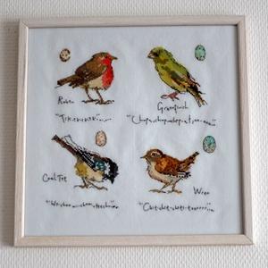 Kerti énekes madárkák katalógusa 2, Otthon & lakás, Lakberendezés, Falikép, Hímzés, Négy rajzolt kismadár van egy képzeletbeli katalógus lapra helyezve ezen a Bothy Threads készletből ..., Meska