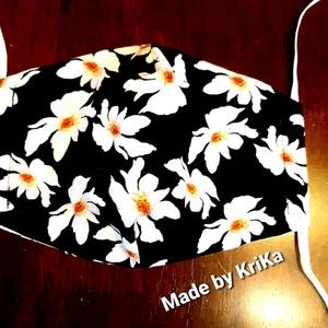 Virágos fekete szájmaszk (madebyKriKa) - Meska.hu