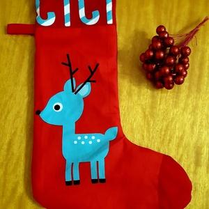 Őzikés mikulás csizma, Otthon & Lakás, Karácsony & Mikulás, Mikulás, Varrás, Őzike mintás anyagból készült, nagyméretű mikulás csizma. A hátoldala piros textilből készült, fehér..., Meska