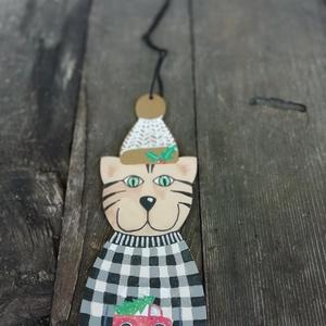 Kockás pulcsis cica karácsonyfadísz (MadeinDia) - Meska.hu