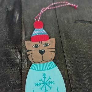 Hópelyhes pulcsis cica karácsonyfadísz (MadeinDia) - Meska.hu