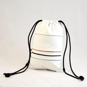 Textilbőr hátizsák, gymbag, Táska & Tok, Hátizsák, Gymbag, Varrás, Fehér, és szürke színű textilbőr táska, világoskék, és tégla színű díszcsíkkal, és elől cipzáros zse..., Meska