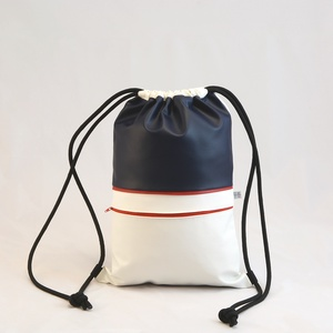 Textilbőr hátizsák, gymbag, Táska & Tok, Hátizsák, Gymbag, Varrás, Fehér, és sötétkék színű textilbőr táska, piros színű díszcsíkkal, és elől cipzáros zsebbel. Fekete ..., Meska