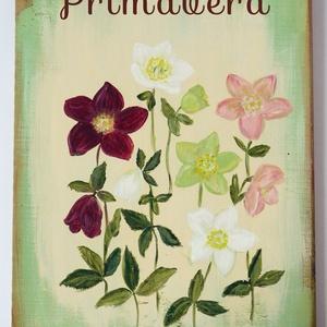 Tavaszi deszka tábla hunyorral, választható felirattal, nagy alakú, shabby chic, Dekoráció, Otthon & lakás, Kép, Lakberendezés, Húsvéti díszek, Ünnepi dekoráció, Famegmunkálás, Festett tárgyak, Deszkára festett tavaszi vintage kép\n\n\nKérésre más fűszert, (gyógy)növényt, virágot is vállalok. \n\nM..., Meska