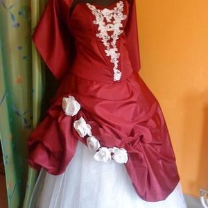 Menyecske, alkalmi ruha, piros-fehér, taft, két részes., Menyecske ruha, Ruha, Esküvő, Varrás, Egyedi, nagyon elegáns, jól kihasználható, két részes, piros-fehér összeállítású, taft, füzős, menye..., Meska