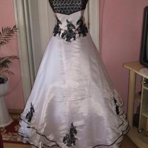 02922121de Menyasszonyi ruha, fehér-fekete, , Ruha, divat, cipő, Esküvői ruha ...
