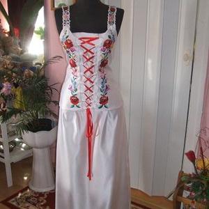 Menyasszonyi, menyecske, alkalmi ruha., Menyasszonyi ruha, Ruha, Esküvő, Hímzés, Varrás, Menyasszonyi, menyecske, alkalmi ruha egyedi tervezéssel. Két részes, anyaga düssesz, kalocsai hímzé..., Meska