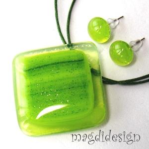 Akciós!!  Napfényes zöld erdő üvegékszer szett, nyaklánc, fülbevaló (magdidesign) - Meska.hu