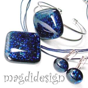 Kék aventurin csillogás üvegékszer szett, nyaklánc, karkötő, kapcsos fülbevaló (magdidesign) - Meska.hu