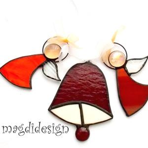 Karácsonyi angyalkák és harang , Karácsony & Mikulás, Karácsonyi dekoráció, Üvegművészet, Fémmegmunkálás, Bordó-piros, narancssárga mintás, fehér üveg és lámpa gyöngy felhasználásával készült a két angyalka..., Meska