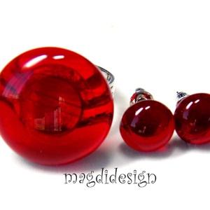 Áttetsző élénk piros üvegékszer szett  gyűrű, fülbevaló   (magdidesign) - Meska.hu