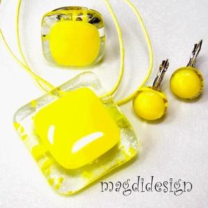 Trendi sárga üvegékszer szett, nyaklánc, gyűrű, kapcsos  fülbevaló   (magdidesign) - Meska.hu