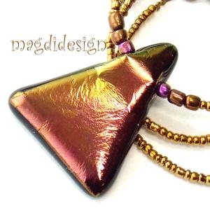 Éteri eozin aranyfényben üvegékszer nyaklánc (magdidesign) - Meska.hu