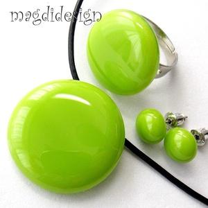 Zöld villanás üvegékszer szett, nyaklánc, gyűrű, fülbevaló, Ékszerszett, Ékszer, Ékszerkészítés, Üvegművészet, AKCIÓ! HÁRMAT FIZET NÉGYET VIHET!! HÁROM ÉKSZERSZETT VÁSÁRLÁSA UTÁN EGY SZETTET AJÁNDÉKBA KÜLDÖK.\n F..., Meska