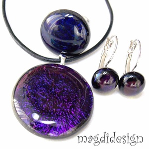 Galaxis bíbor-kék-arany üvegékszer szett, nyaklánc, gyűrű, kapcsos fülbevaló (magdidesign) - Meska.hu