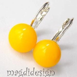 Nap sárga üvegékszer kapcsos fülbevaló (magdidesign) - Meska.hu