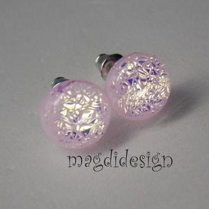 Ezüstös rózsaszín csillogás üvegékszer pötty fülbevaló (magdidesign) - Meska.hu