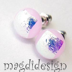 Ezüst-rózsaszín csillogás üvegékszer pötty fülbevaló (magdidesign) - Meska.hu
