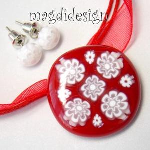 Menyecske piros-fehér csipkés, virágos üvegékszer szett, nyaklánc, pötty fülbevaló (magdidesign) - Meska.hu