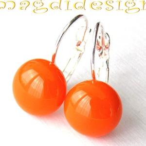 Mandarin-narancs üvegékszer kapcsos fülbevaló (magdidesign) - Meska.hu