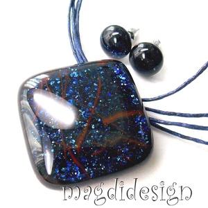 Csillámporos kék éjszaka üvegékszer szett, nyaklánc, pötty fülbevaló (magdidesign) - Meska.hu