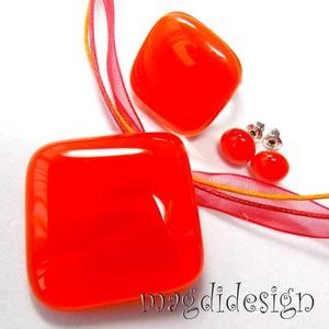 Vörös kocka üvegékszer szett, nyaklánc, gyűrű, pötty fülbevaló (magdidesign) - Meska.hu