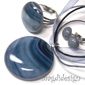 Trendi szürke 1 üvegékszer szett, nyaklánc, gyűrű, pötty fülbevaló (magdidesign) - Meska.hu
