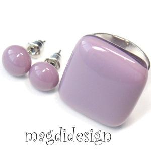 Füstös lila üvegékszer szett, gyűrű, pötty fülbevaló, Ékszer, Gyűrű, Fülbevaló, Ékszerkészítés, Üvegművészet, Óriási választék gyűrűs szettekből boltomban! Füstös lila  ékszerüveg felhasználásával készült, ez a..., Meska