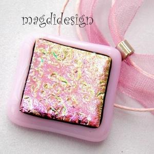 Rózsaszín pezsgő üvegékszer nyaklánc (magdidesign) - Meska.hu