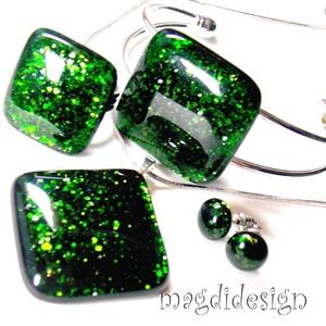 Zöld aventurin csillogás üvegékszer szett, nyaklánc,  karkötő, gyűrű, pötty fülbevaló (magdidesign) - Meska.hu