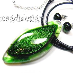 Csillogó zöld levél üvegékszer szett, nyaklánc, pötty fülbevaló (magdidesign) - Meska.hu