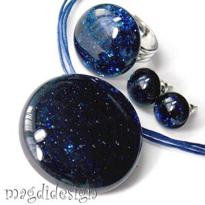 Kék aventurin csillogás üvegékszer szett, nyaklánc, gyűrű, fülbevaló (magdidesign) - Meska.hu
