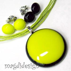 Fekete- zöld DUÓ üvegékszer szett, nyaklánc, 2 pár fülbevaló (magdidesign) - Meska.hu