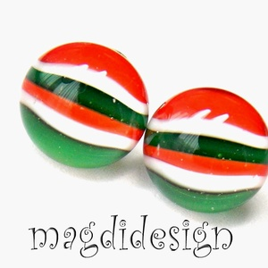 Piros, fehér, zöld üvegékszer pötty fülbevaló (magdidesign) - Meska.hu
