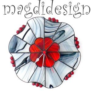 Vörös és fekete tiffany falióra (magdidesign) - Meska.hu