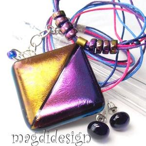 Éteri eozin bíbor-arany fényben üvegékszer szett, nyaklánc, pötty fülbevaló (magdidesign) - Meska.hu
