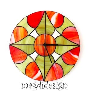Pirosalma tiffany falióra-- ballagásra, esküvőre, házavatóra - otthon & lakás - dekoráció - falióra & óra - Meska.hu