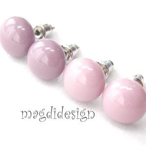 Pasztell lilás rózsaszín lilával üvegékszer fülbevaló 2 pár, Ékszer, Fülbevaló, Ékszerkészítés, Üvegművészet, Pasztell, füstös, lilás rózsaszín és lila ékszerüveg felhasználásával készült a két pár fülbevaló, o..., Meska