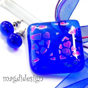 AKCIÓ!! Szivárványos szívek királykéken üvegékszer szett, nyaklánc, fülbevaló (magdidesign) - Meska.hu
