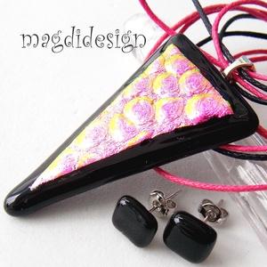 Geometrikus fényjáték -- fekete-pink üvegékszer szett, nyaklánc, pötty fülbevaló (magdidesign) - Meska.hu