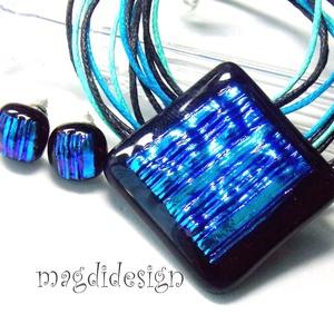 AKCIÓ!! Kék csíkos gyémántfény üvegékszer szett, nyaklánc, fülbevaló (magdidesign) - Meska.hu