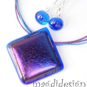 Éteri eozin víz kék-lila-arany fényben üvegékszer szett, nyaklánc, kapcsos fülbevaló (magdidesign) - Meska.hu