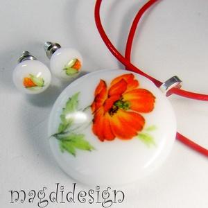 Tüzes pipacs üvegékszer szett nyaklánc, stiftes fülbevaló (magdidesign) - Meska.hu