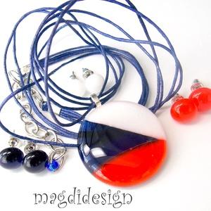 Tengerész- kék, fehér, piros SZÍNTRIÓ üvegékszer szett, nyaklánc, 3 pár pötty fülbevaló  (magdidesign) - Meska.hu
